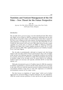 thumbnail of Nutrition and Nutrient Management of the Oil Palm